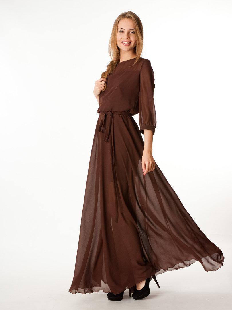 шифоновое платье коричневое