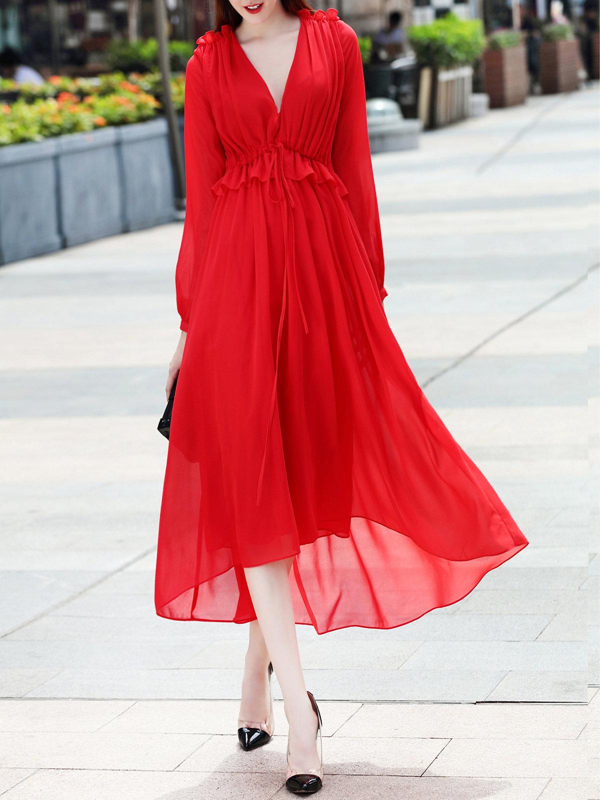 шифоновое платье красное