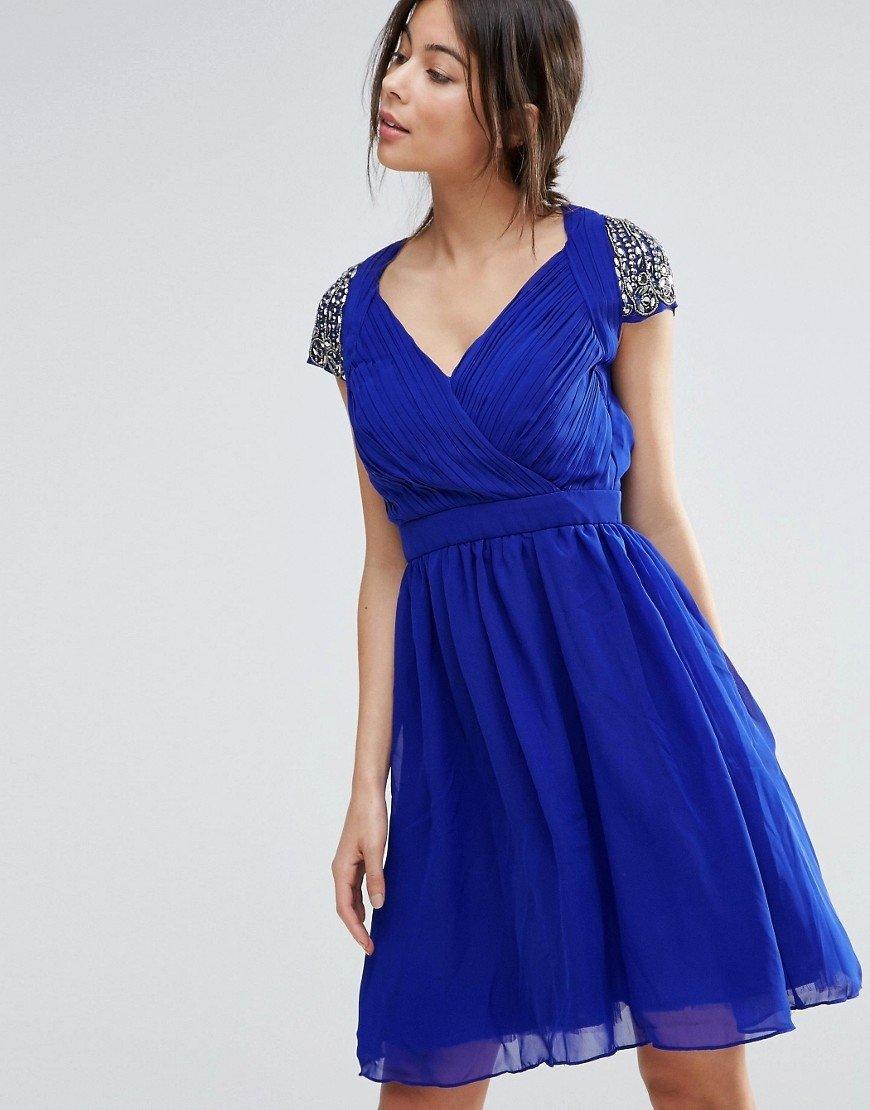 шифоновое платье синее