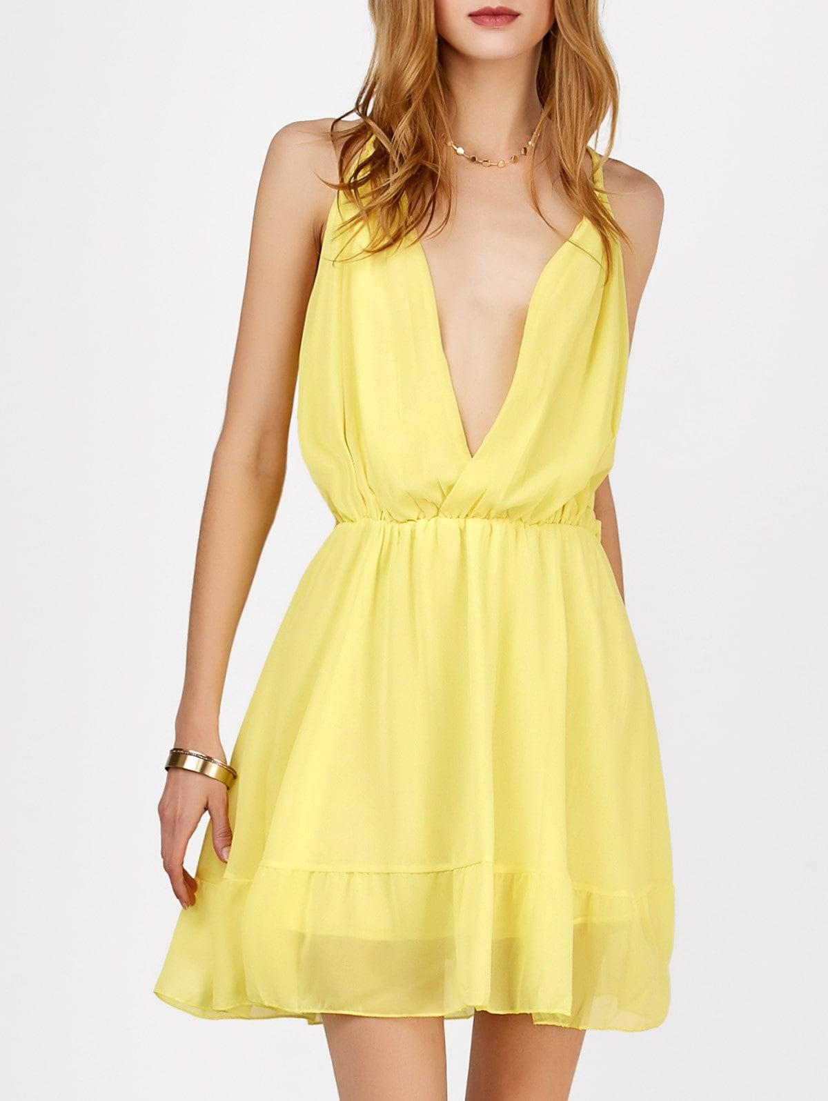 шифоновое платье желтое