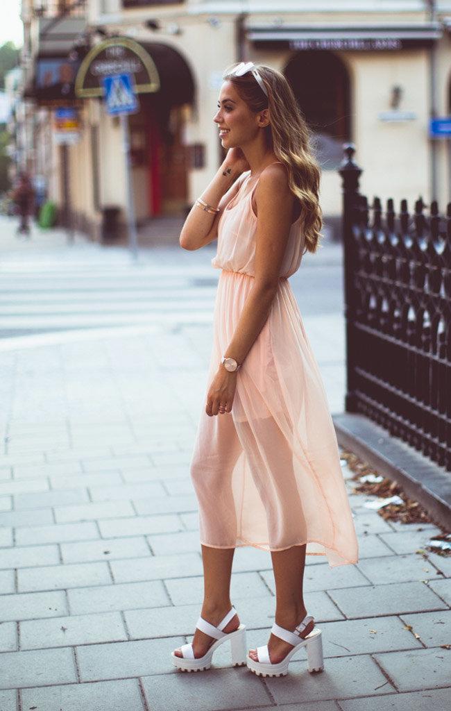 шифоновое платье босоножки