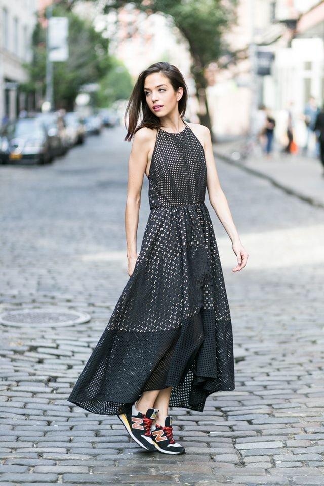 шифоновое платье кроссовки