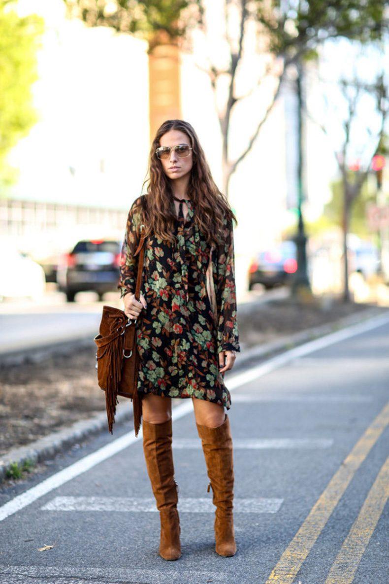шифоновое платье сапоги