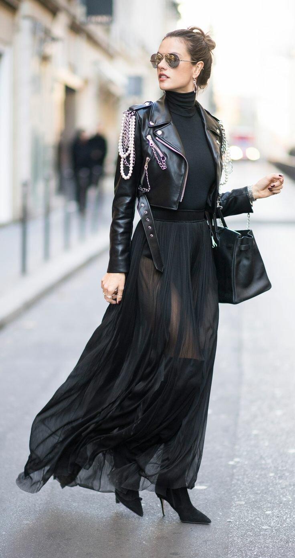 шифоновое платье и косуха