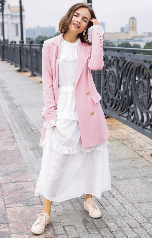 шифоновое платье и пиджак