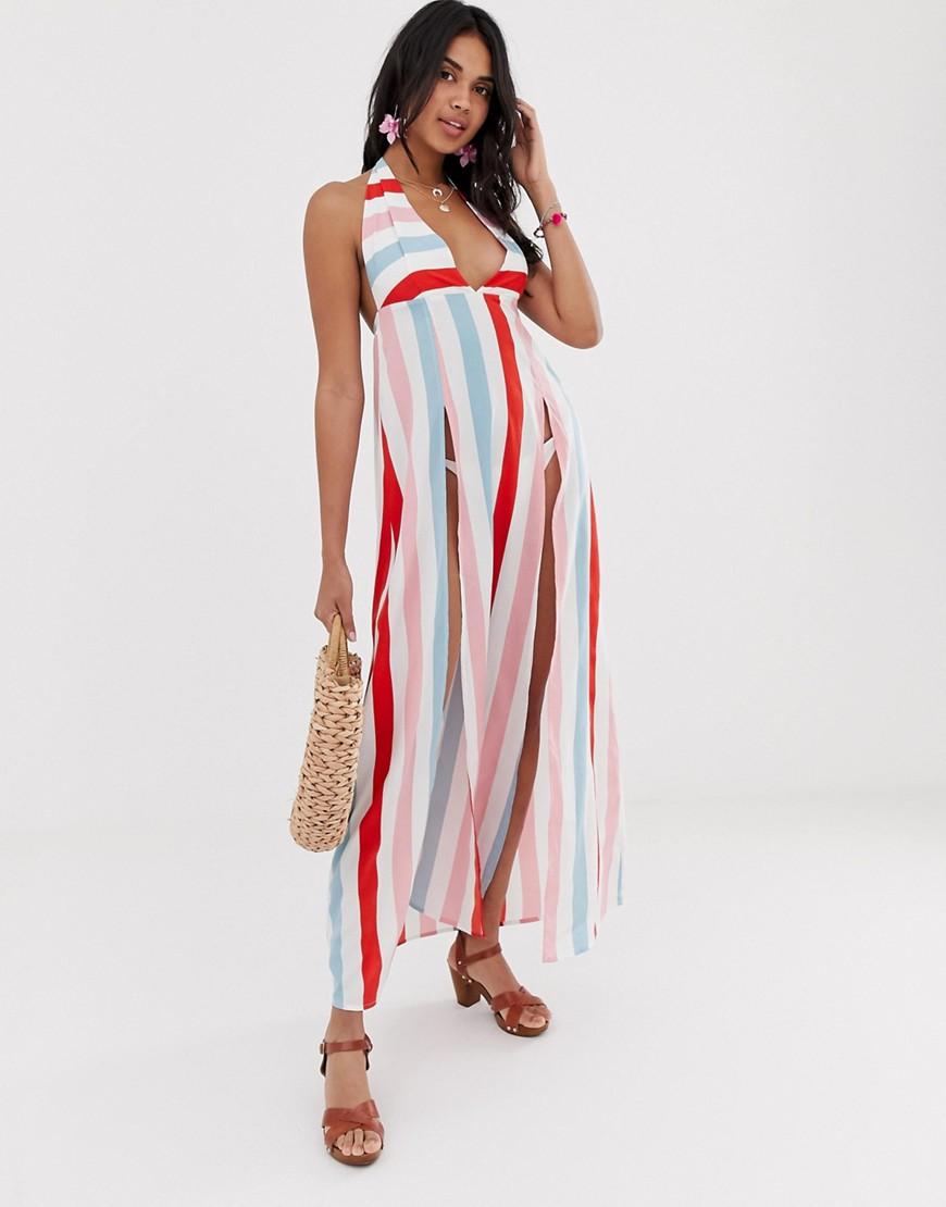 платье в полоску пляжное