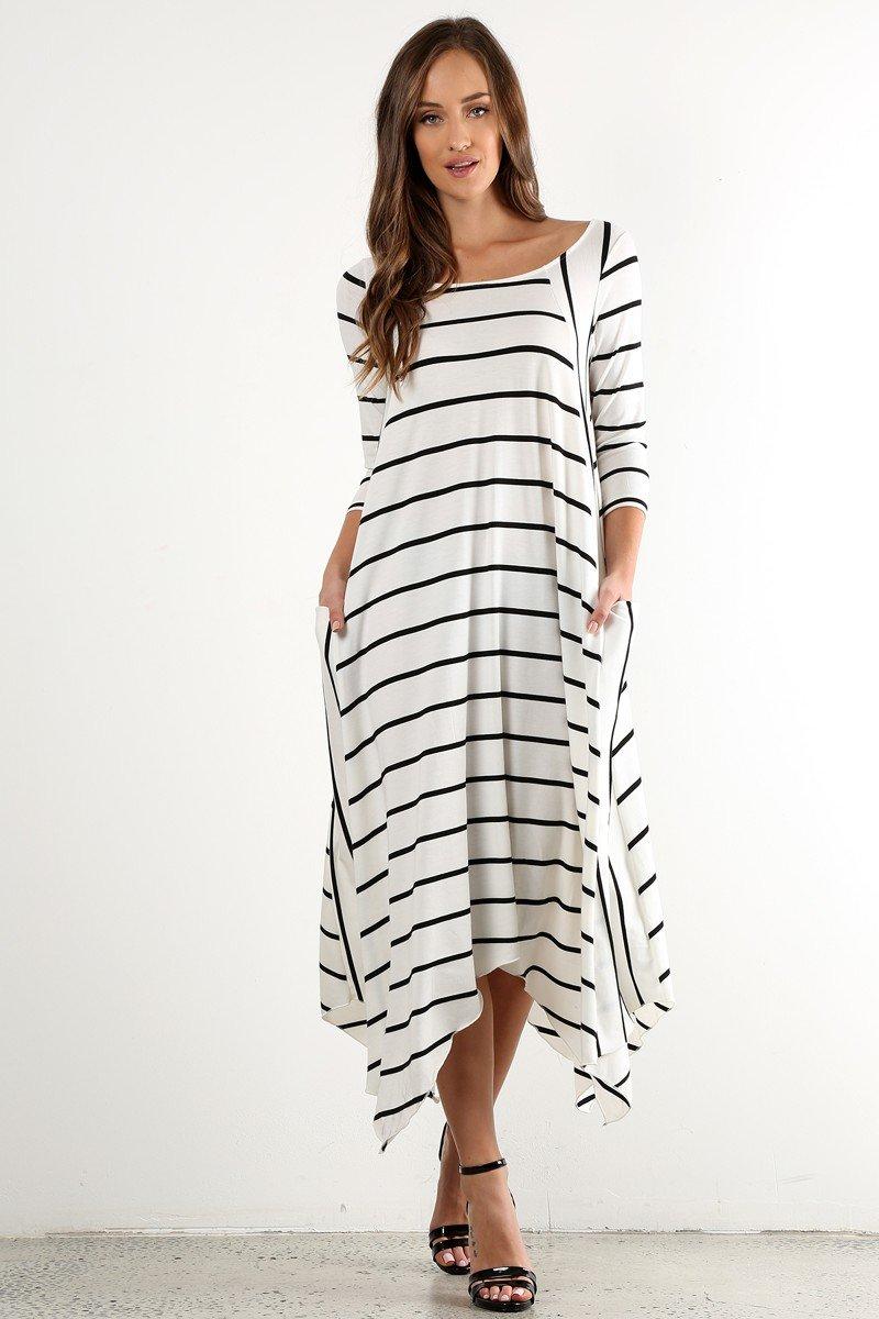 платье в полоску свободного кроя