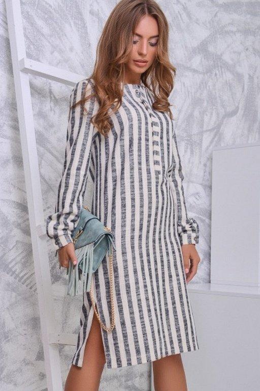 платье в полоску лен