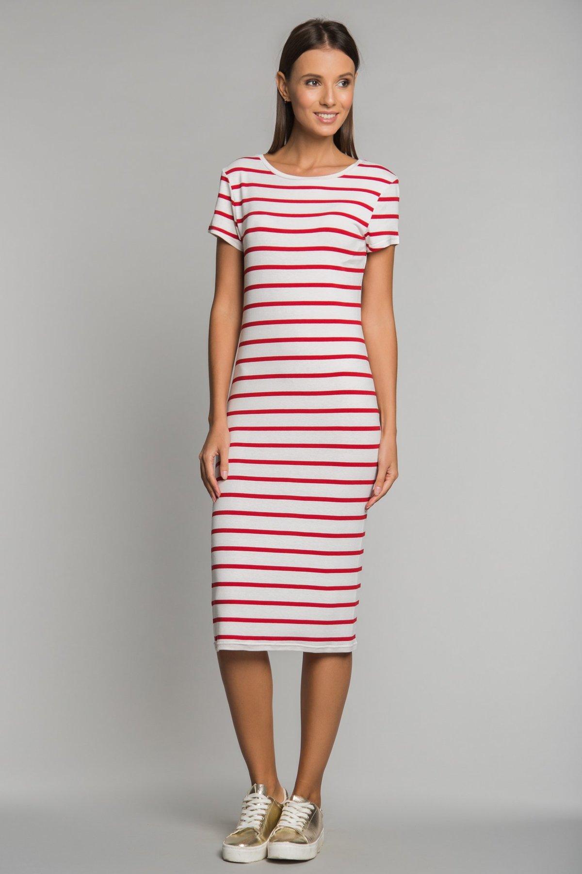 платье в полоску красное
