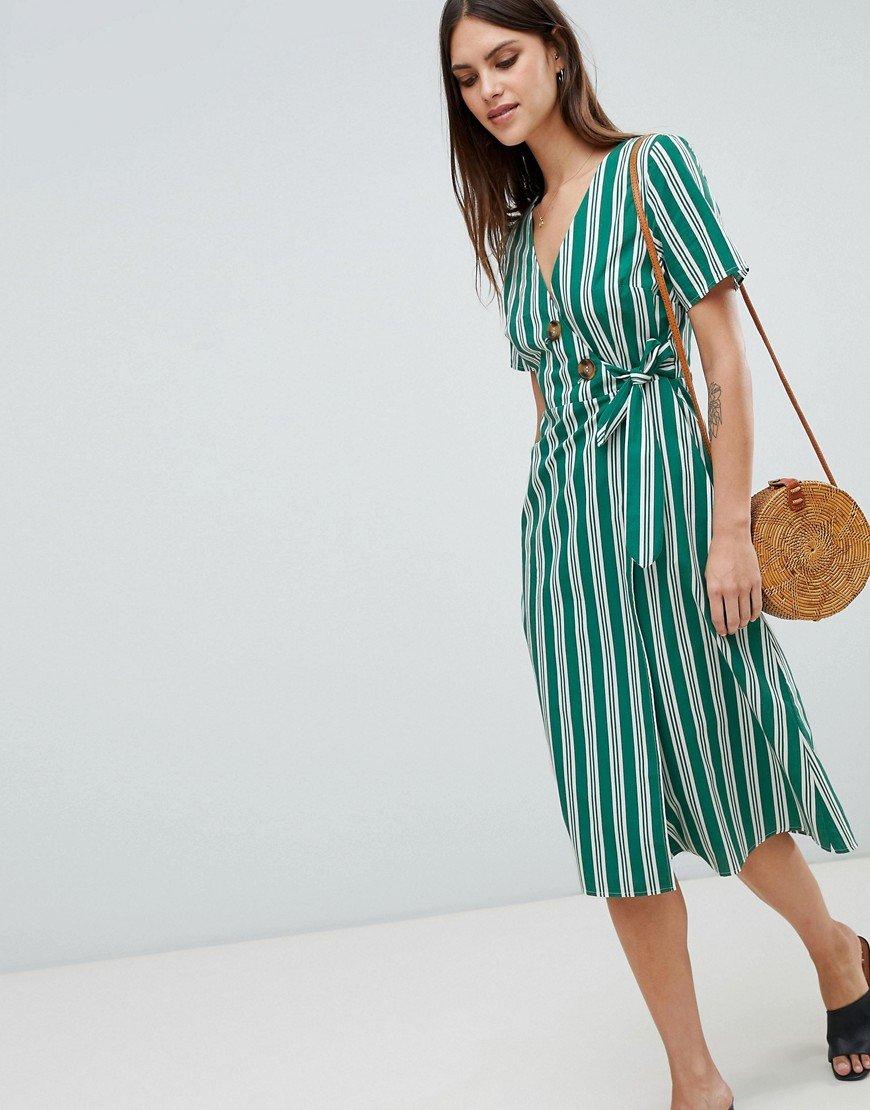 платье в полоску зеленое