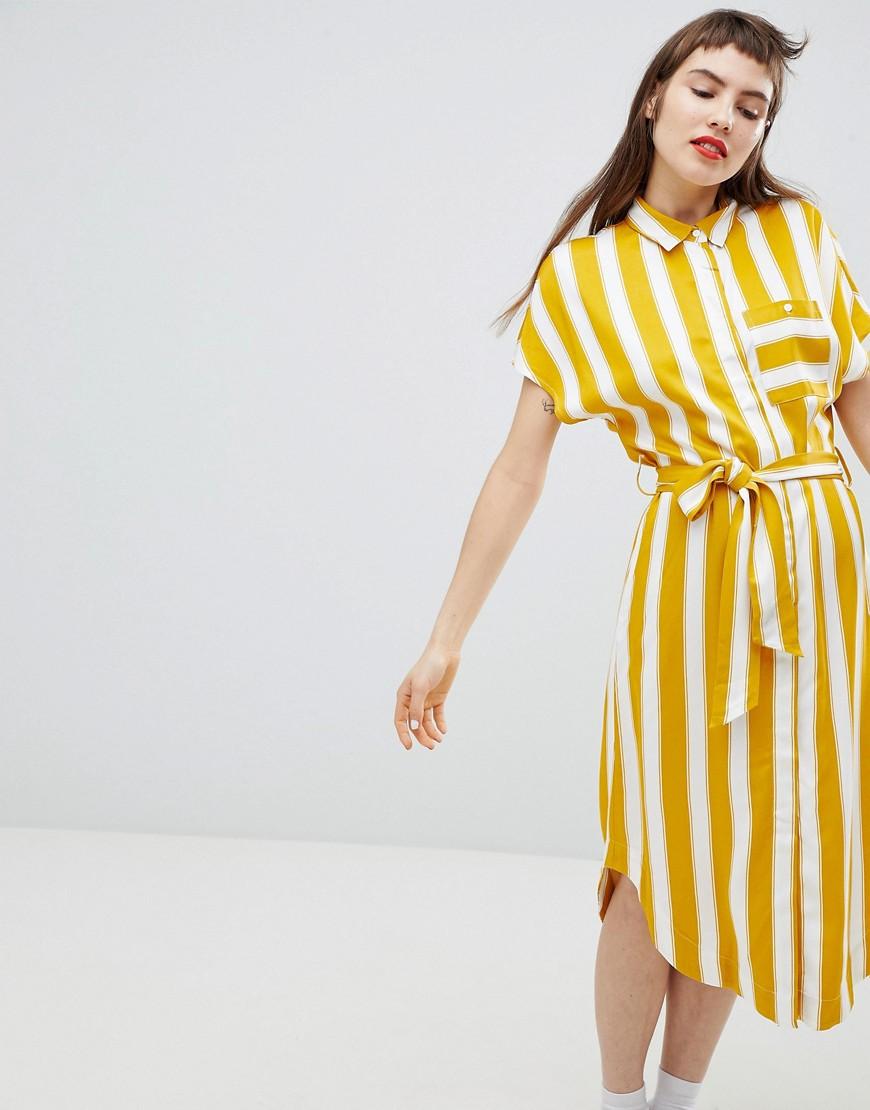 платье в полоску желтое