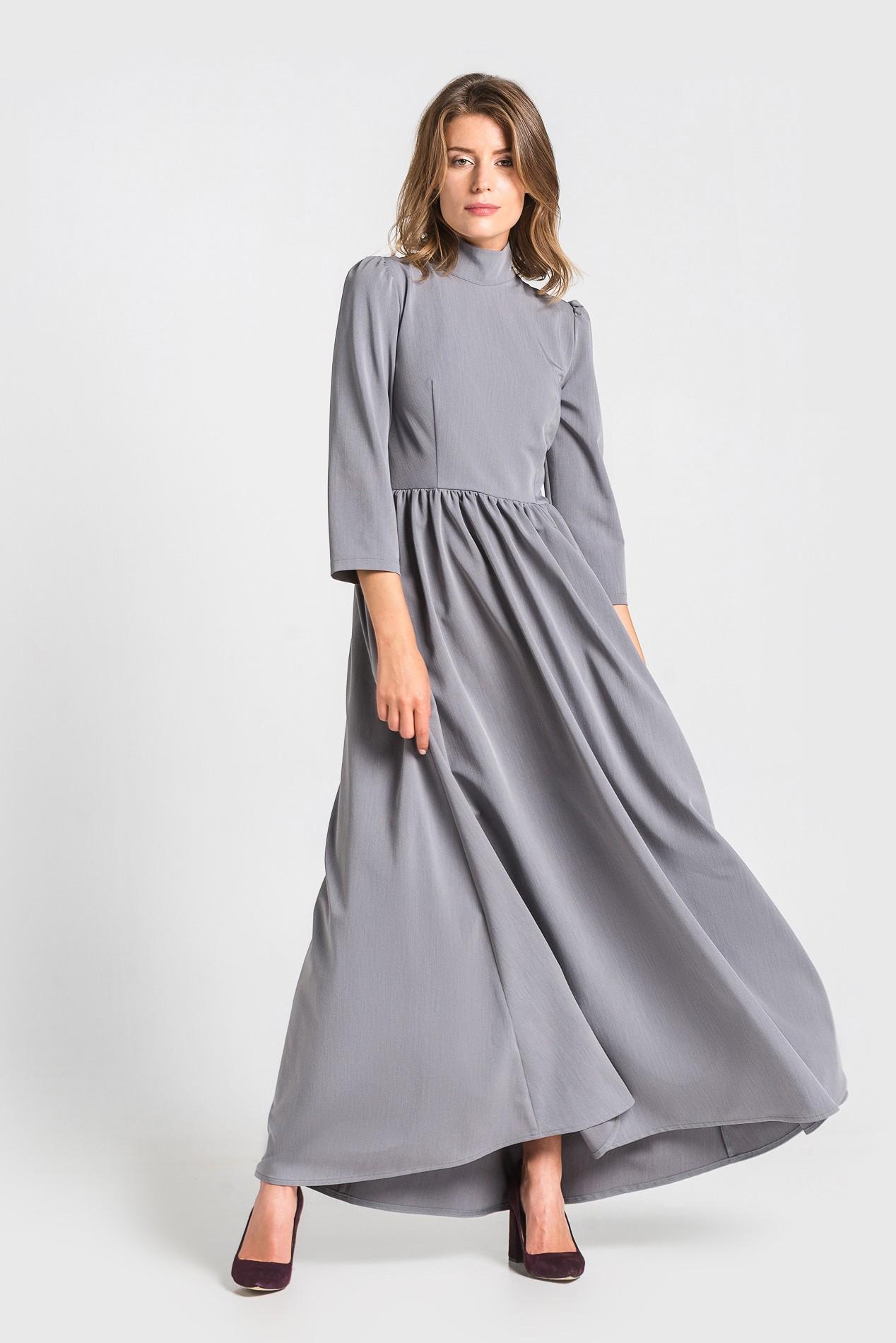 серое платье длинное