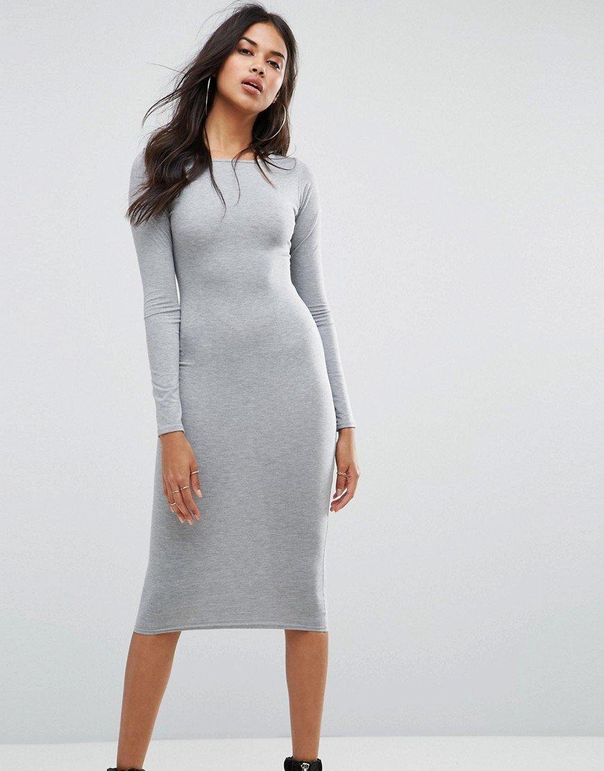 серое платье миди