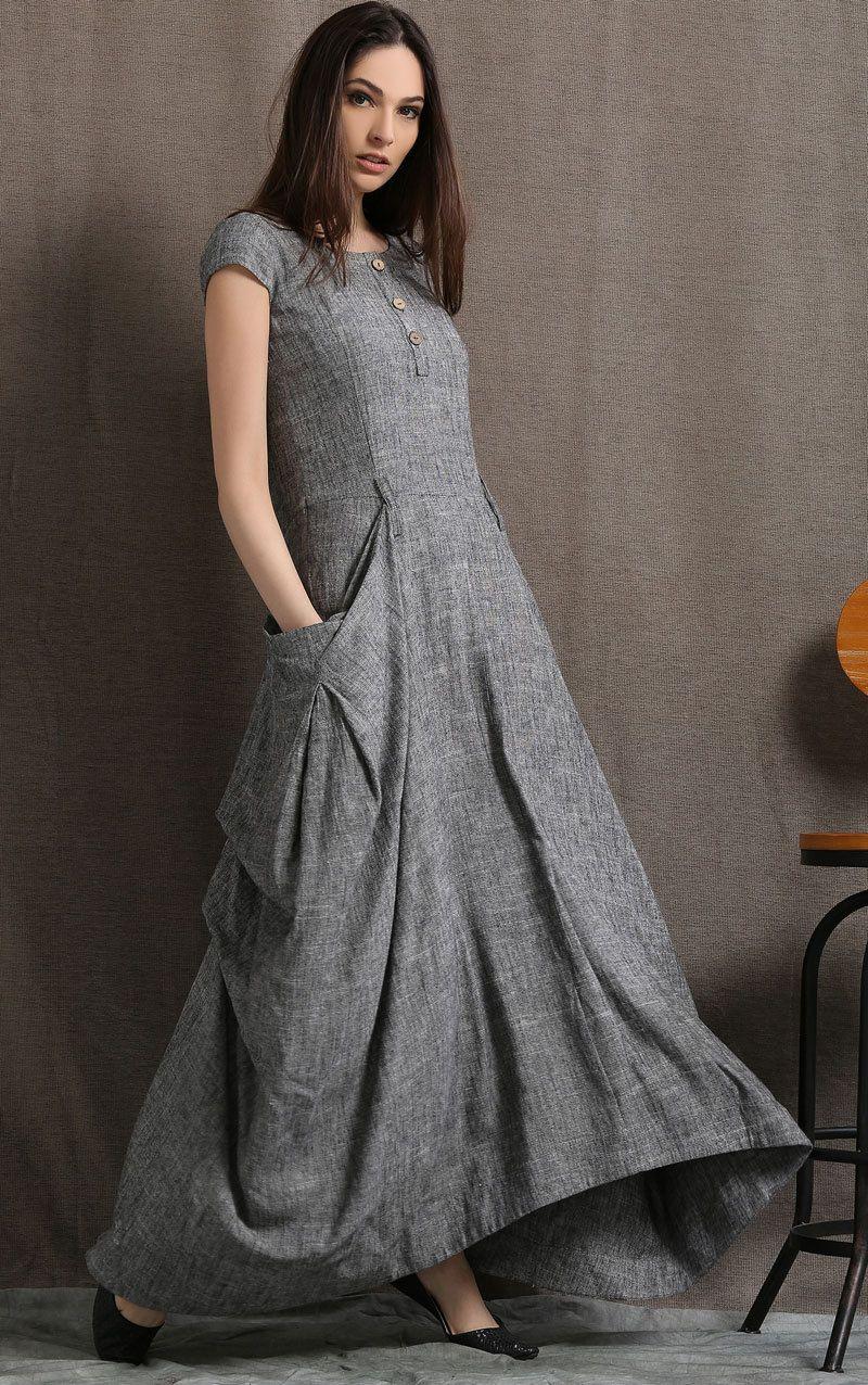 серое платье в стиле бохо