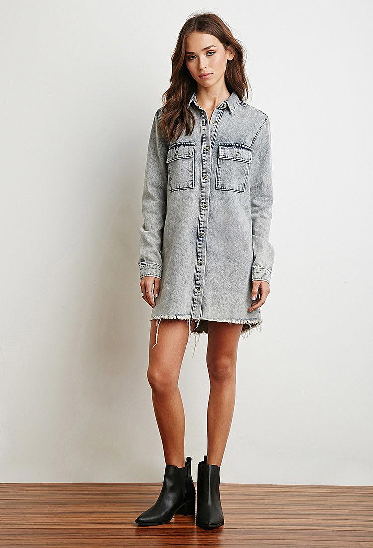серое платье джинсовое