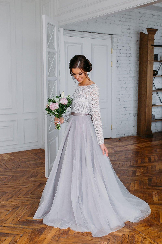 серое платье свадебное