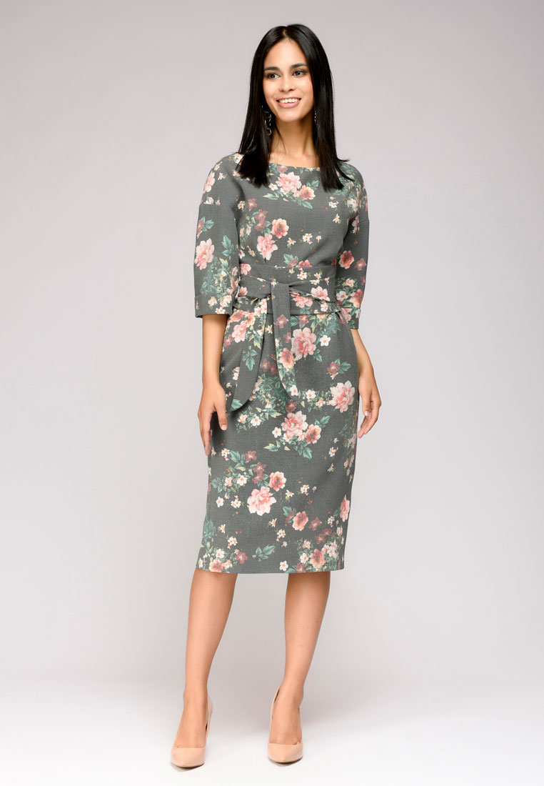 серое платье цветочный принт