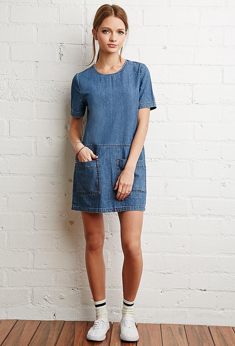 джинсовое платье короткое