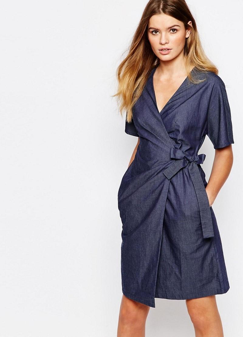 джинсовое платье с запахом