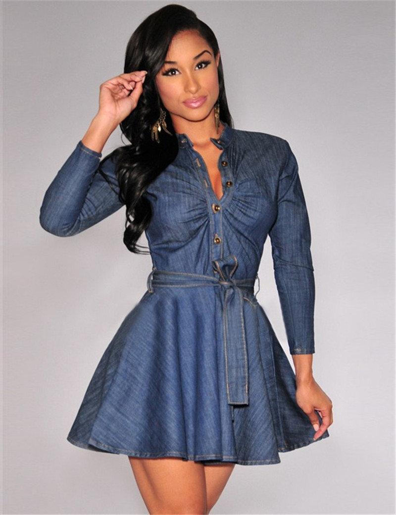 джинсовое платье с пышной юбкой