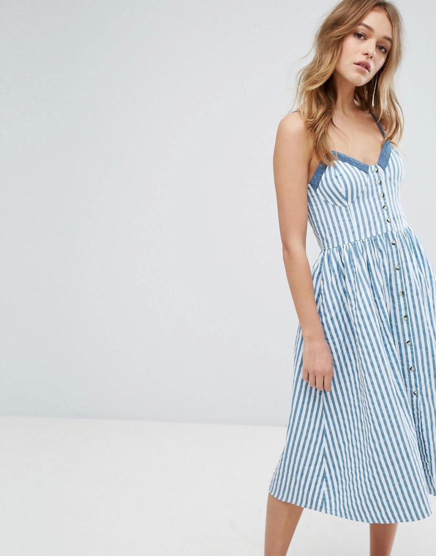 джинсовое платье в вертикальную полоску