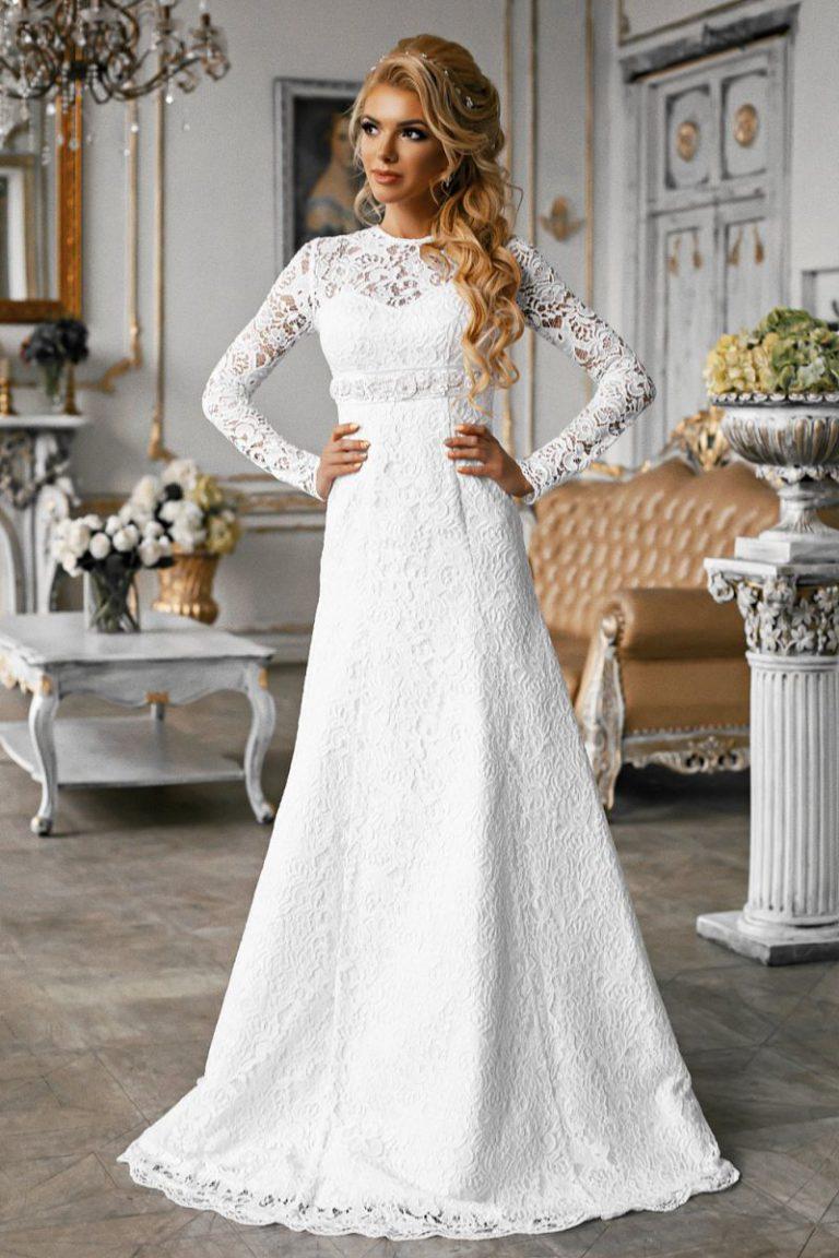 свадебное кружевное платье длинное