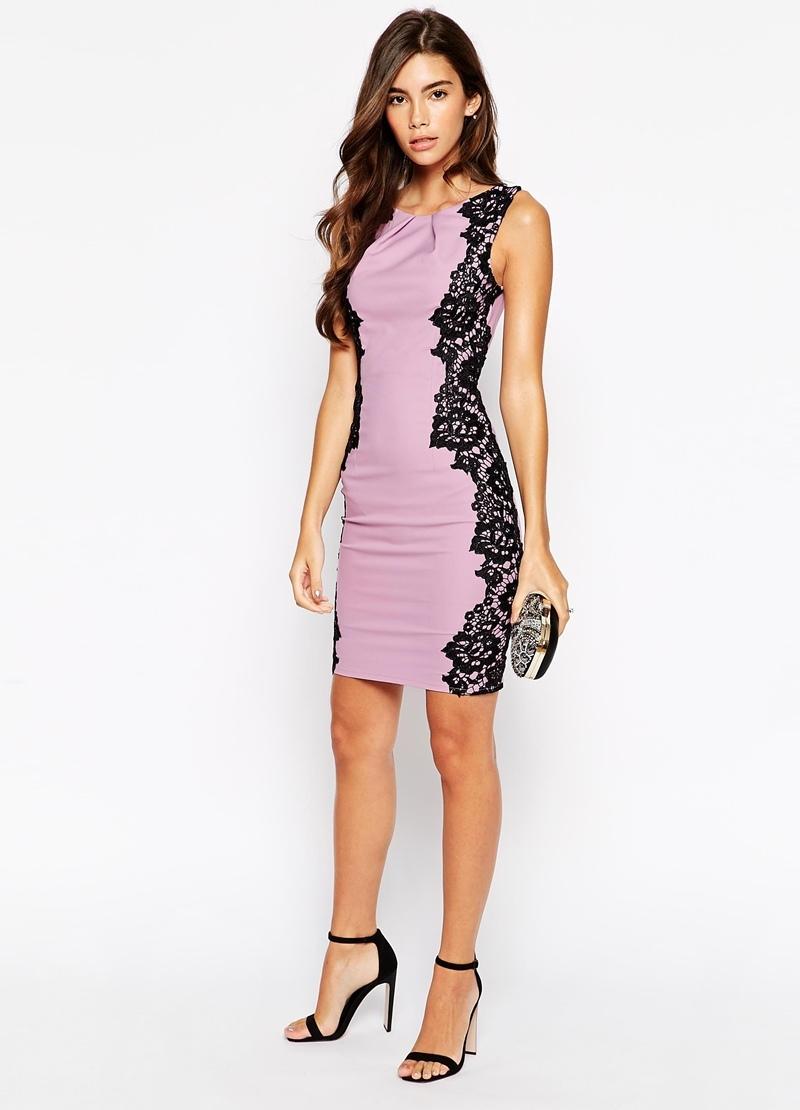 платье футляр с кружевными вставками