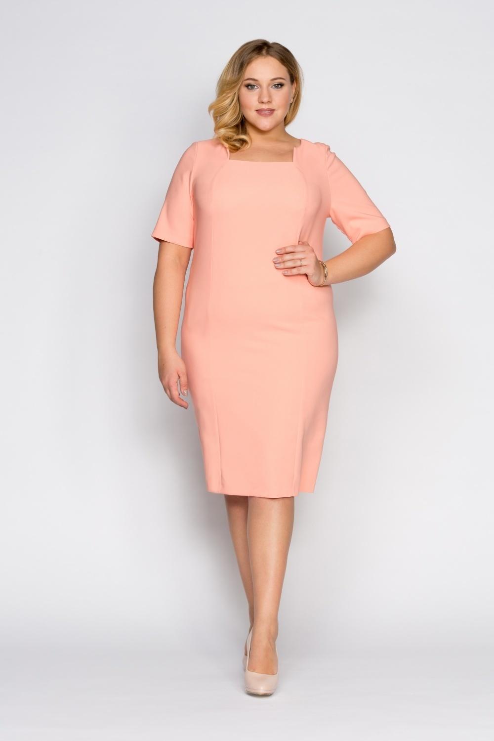 платье футляр для полных персиковое