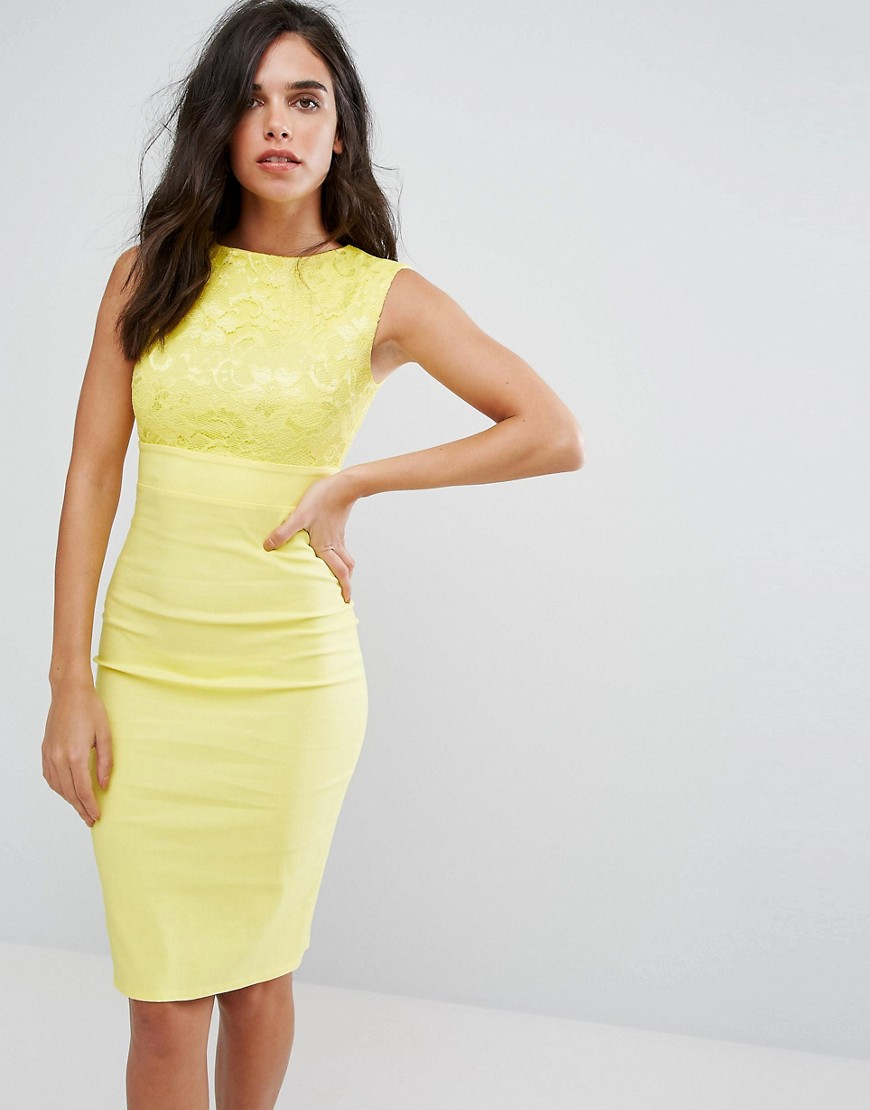 платье футляр желтое
