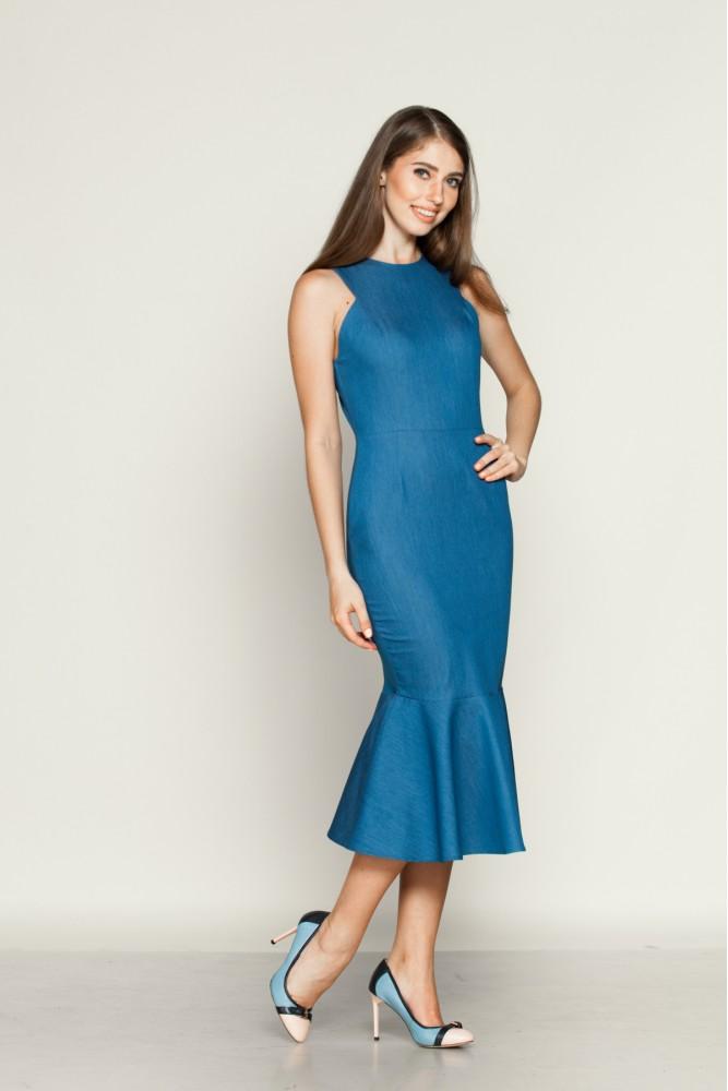 Платье футляр с воланом внизу