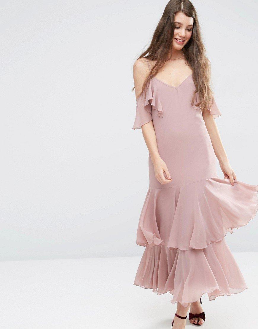 платье с воланами шифон