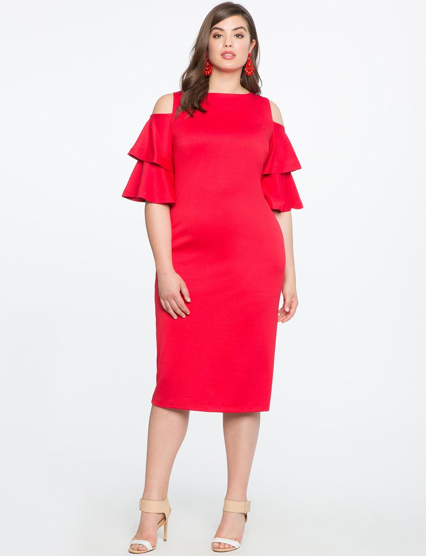 платье с воланами для полных женщин красное