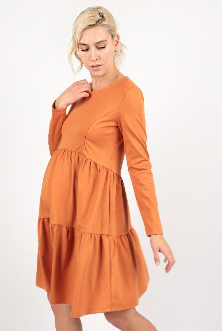 платье с воланами для беременных с длинным рукавом