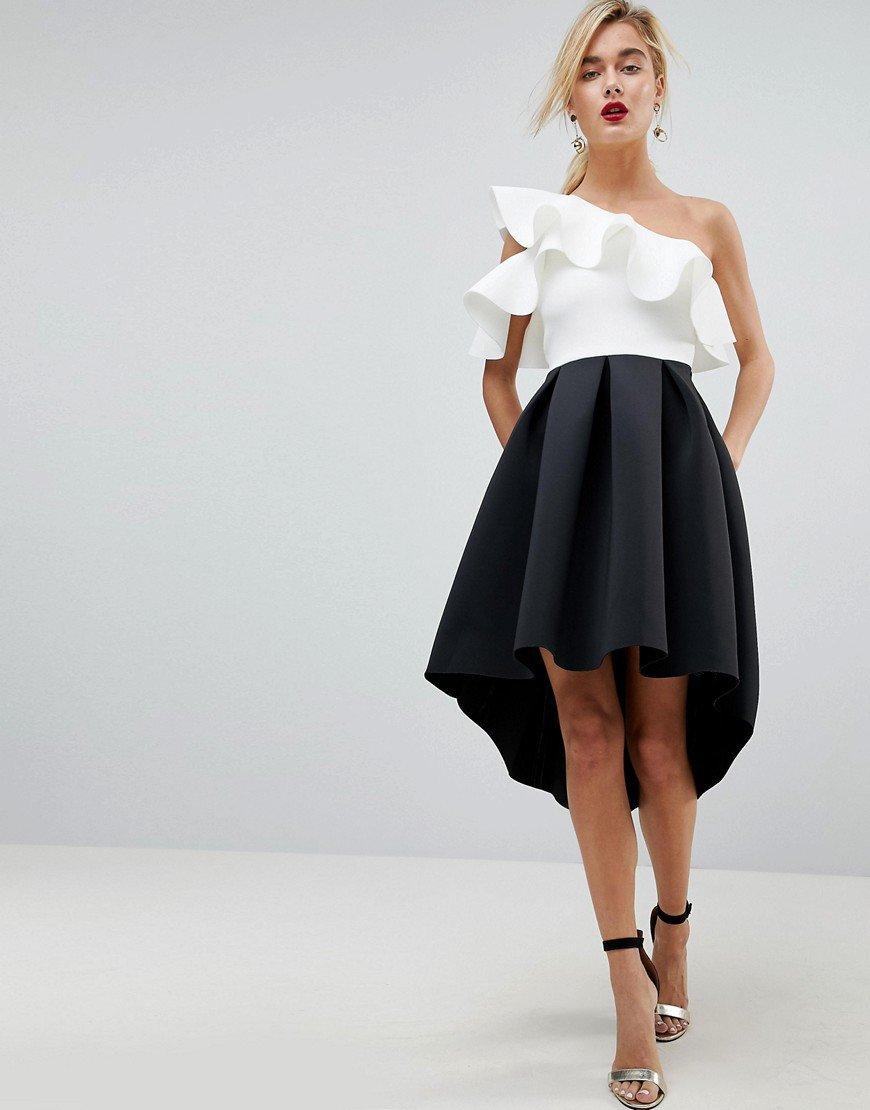 платье с воланами на выпускной миди