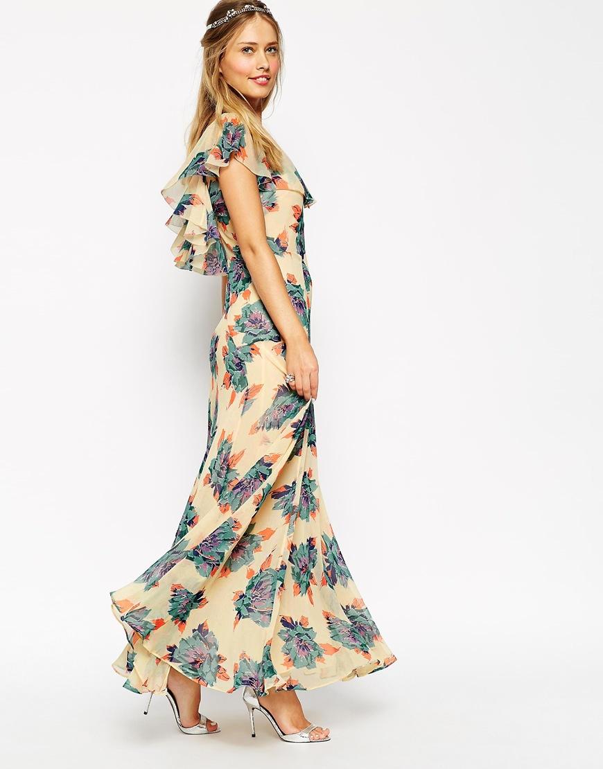 платье с воланами цветочный принт