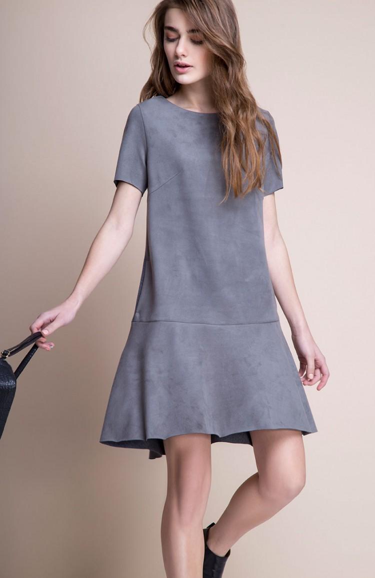 Платье А-силуэта с воланом внизу