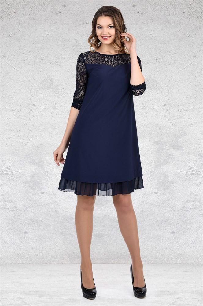платье а силуэта коктейльное синее