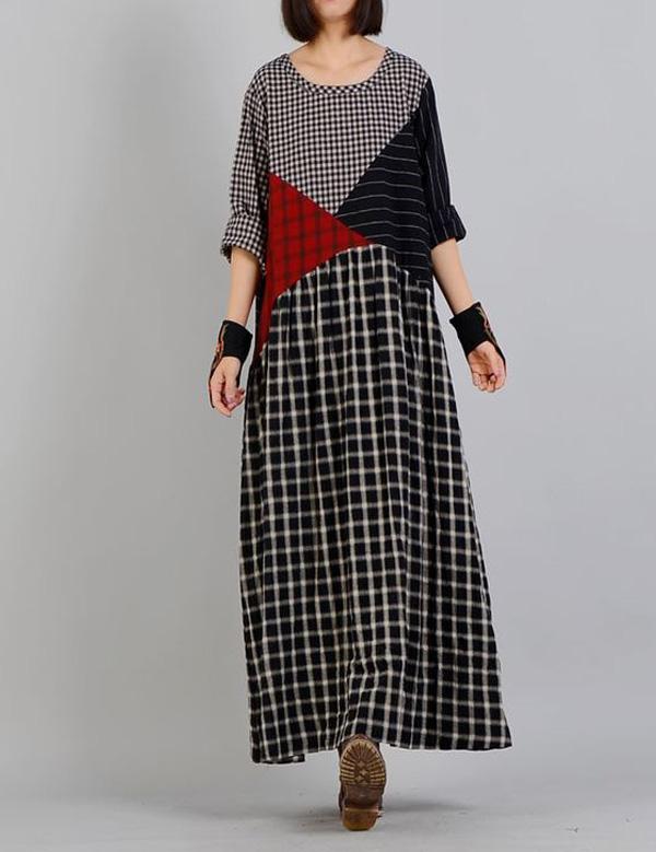 платье в клетку в стиле бохо