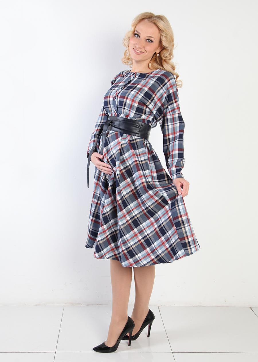 платье в клетку для беременных длинное