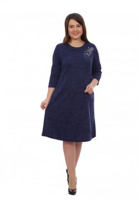 Платье трикотажное Варвара (синее)
