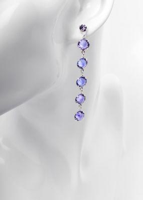 Серьги с сиреневыми кристаллами swarovski 02503Si