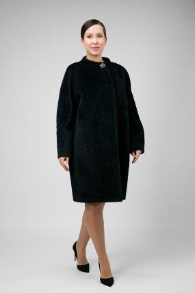 Пальто кокон из альпака на большой размер