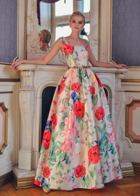 Длинное шелковое платье с пышной юбкой ND159B