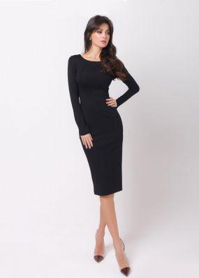 черное облегающее платье 170802