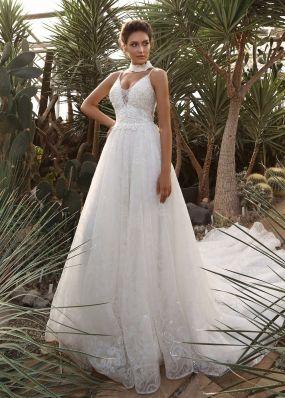 Свадебное платье из кружева на лямках с корсетом ZIS017
