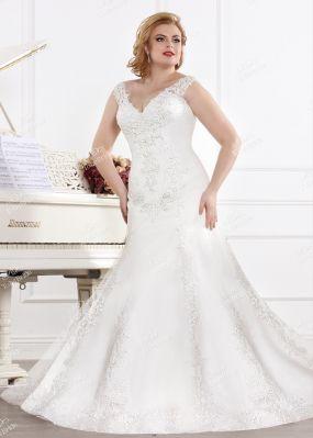 Свадебное платье-рыбка с вышивкой MJ172