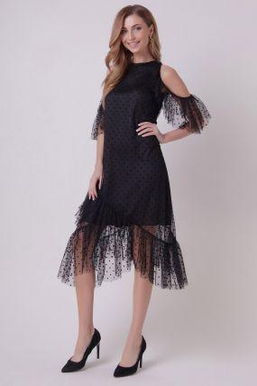 Вечернее платье с открытыми плечами 161004