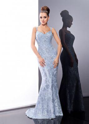 Голубое вечернее платье с блестками FA075B