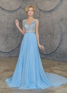 Голубое вечернее платье CH140B