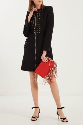 Черное пальто со шнуровкой